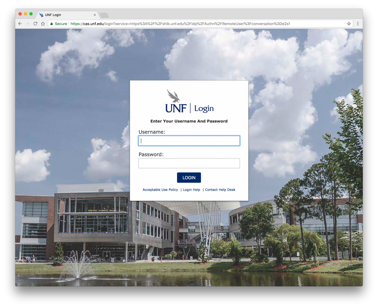 UNF Login Screen