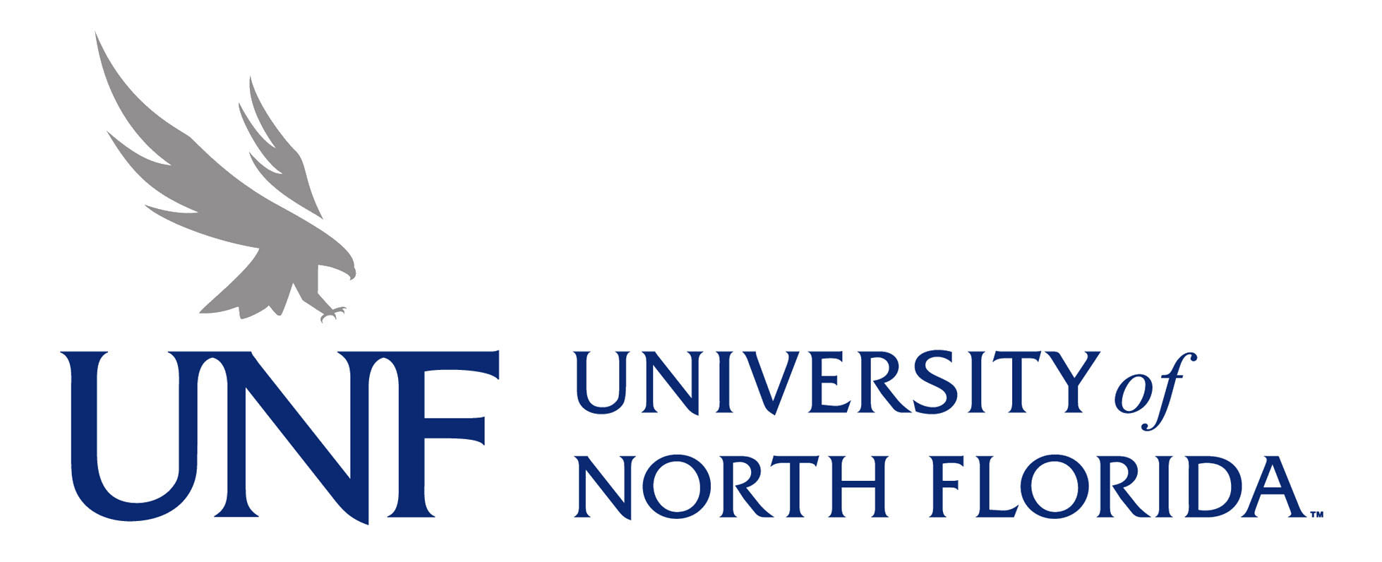 blue and gray UNF logo with osprey